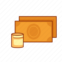 banknotes, bills, cash, coins, currency, finance, money icon