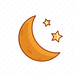 crescent, forecast, moon, night, sleep, stars, weather icon