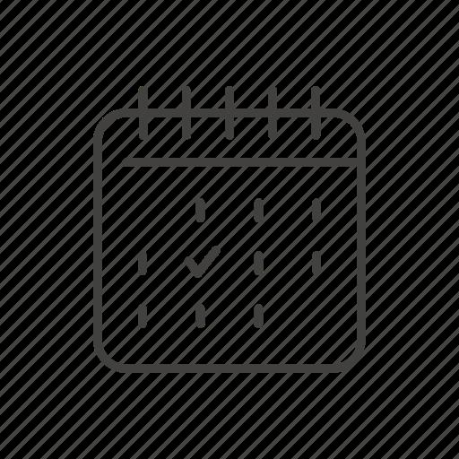 calendar, date, line, mark, thin, travel icon