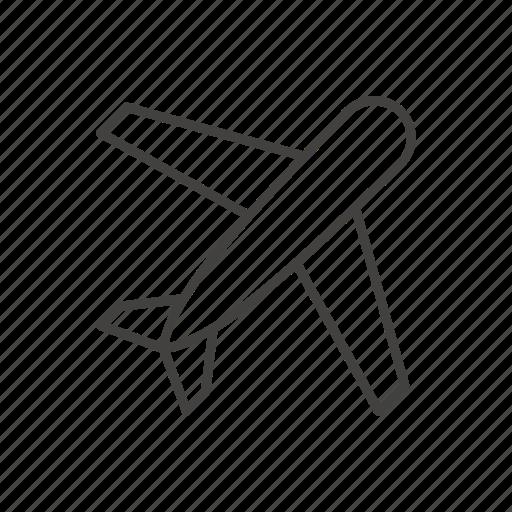 line, plane, take off, thin, travel icon