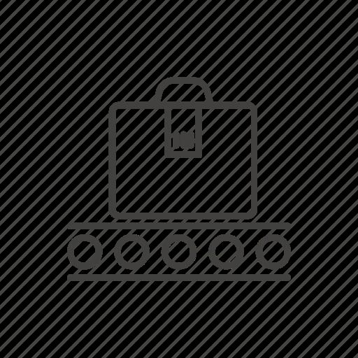 bag, baggage, conveyor, line, luggage, thin, travel icon