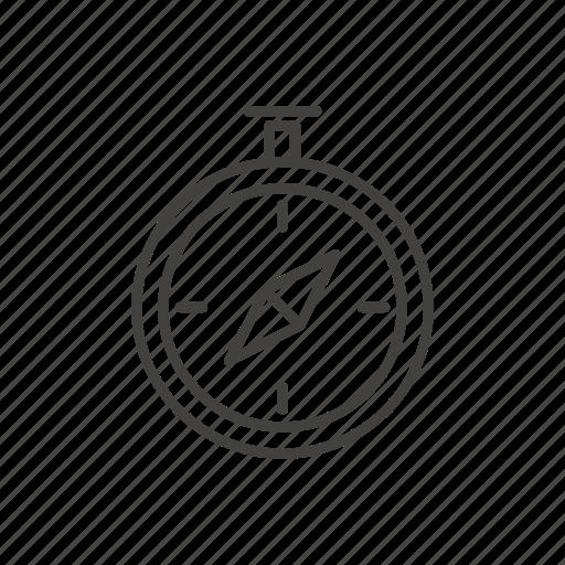 compass, line, orientation, thin, travel icon