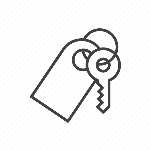 hotel, key, line, room, thin, travel icon