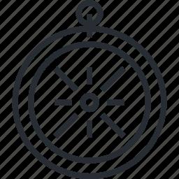 compass, destination, insurance, line, thin, tour, travel icon