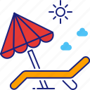 beach, chair, chill, relax, summer, sunbath, vacation icon