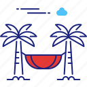 beach, hammock, holiday, relax, summer, travel, vacation icon