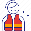 drown, jacket, life, lifeguard, protection, safety, vest icon