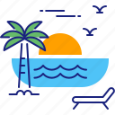 beach, holiday, summer, sun, sunset, travel, vacation icon