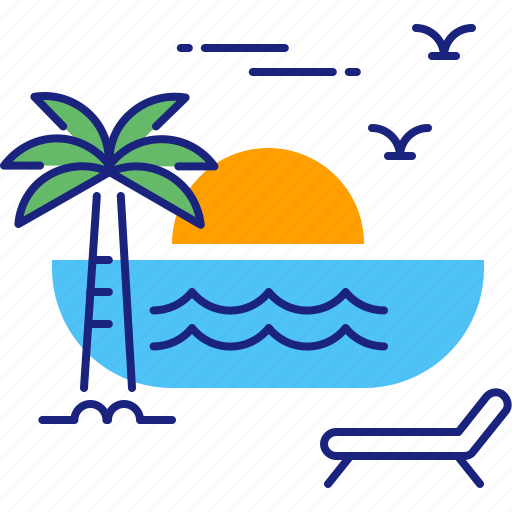 Beach, sunset, holiday, summer, sun, travel, vacation icon - Download on Iconfinder