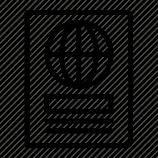 document, international, passport, travel icon
