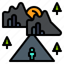 tour, travel, voyage, wander, journey, roam icon