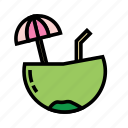 coconut, holiday, outdoor, recreation, travel, water icon