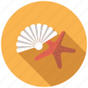 beach, holidays, marine life, seashell, starfish, travel, vacation icon