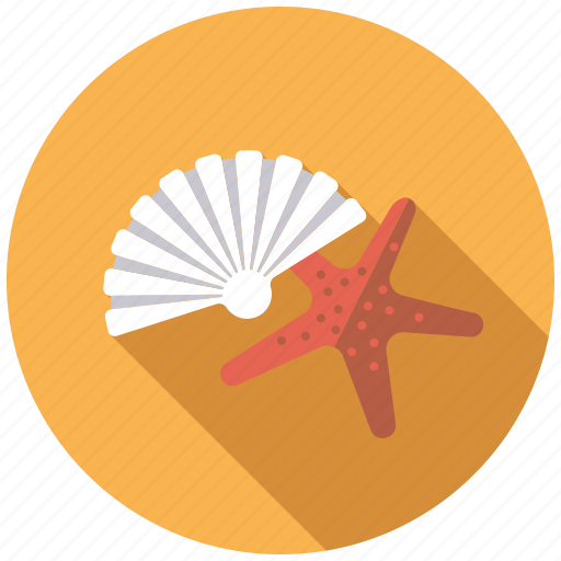 beach, holidays, marine life, seashell, starfish, travel, vacation icon