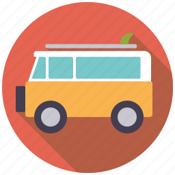 bus, camper van, holidays, surfboard, surfing, travel, vacation icon