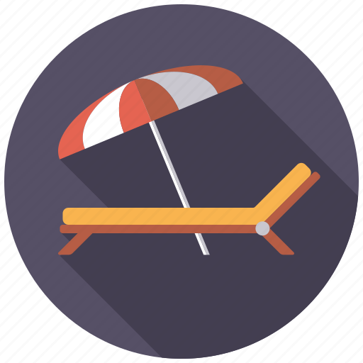 beach umbrella, deckchair, holidays, sunbed, sunshade, travel, vacation icon