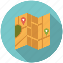 city, folding, holidays, map, marker, travel, vacation icon