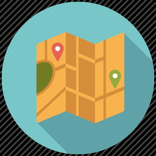 city, folding, holidays, map, marker, travel, vacation icon
