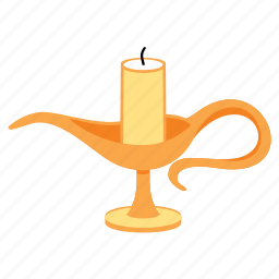 candle, candlestick, gold, handle, treasure icon