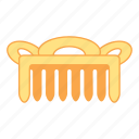 comb, gold, hair, treasure icon