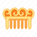 comb, gold, hair, treasure, waves icon