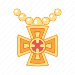 cross, gold, jewel, jewelry, pendant, perls, treasure icon