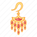 earring, gems, gold, red, treasure icon