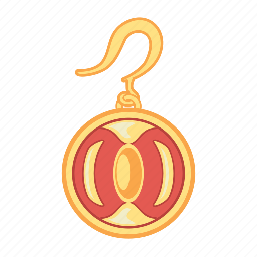 earring, gold, jewelry, red, round, treasure icon