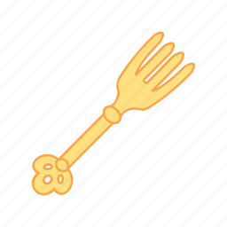 dinner, fork, gold, treasure icon