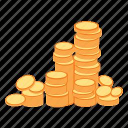 coins, gold, money, rich, treasure, wealth icon