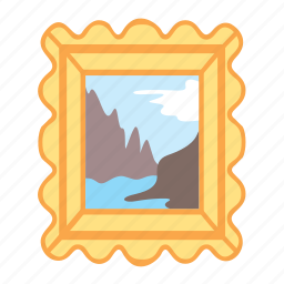 frame, gold, nature, painting, treasure icon