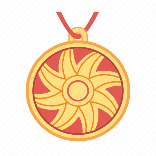 jewelry, pendant, red, round, star, sun, treasure icon