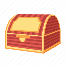 closed, red, stripes, treasure, trunk icon