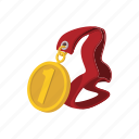 achievement, cartoon, first, gold, medal, victory, winner icon