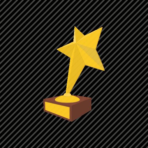 achievement, award, cartoon, competition, gold, star, success icon