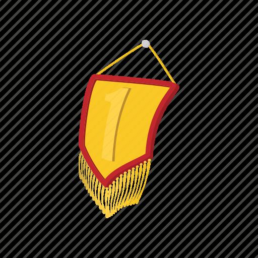 award, cartoon, first, flag, gold, golden, pennant icon
