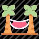 beach, coconut, hammock, palm, summer, tree, vacation icon
