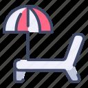 beach, chair, cruise, deck, umbrella icon
