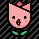 blowing, emoji, emotion, expression, face, feeling, tulip