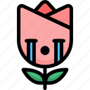 cry, emoji, emotion, expression, face, feeling, tulip icon