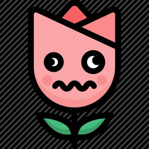 dizzy, emoji, emotion, expression, face, feeling, tulip icon