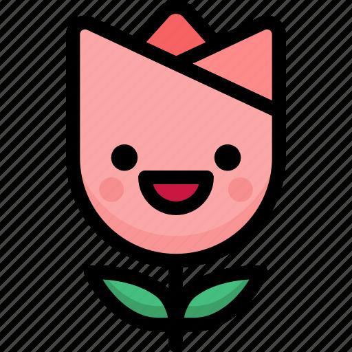 emoji, emotion, expression, face, feeling, happy, tulip icon