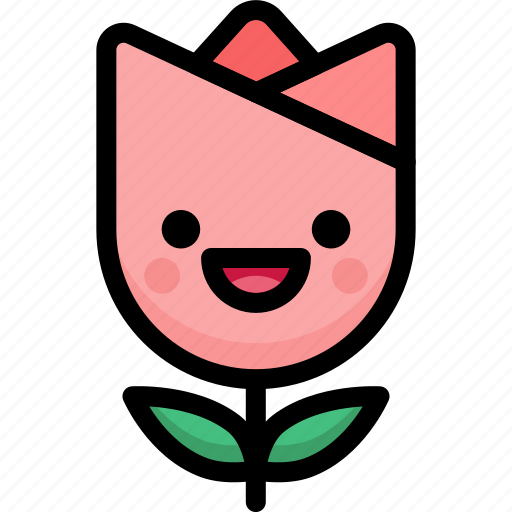 emoji, emotion, expression, face, feeling, laughing, tulip icon