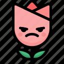 emoji, emotion, expression, face, feeling, mad, tulip icon