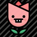 emoji, emotion, expression, face, feeling, nerd, tulip
