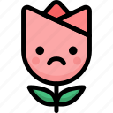 emoji, emotion, expression, face, feeling, sad, tulip icon