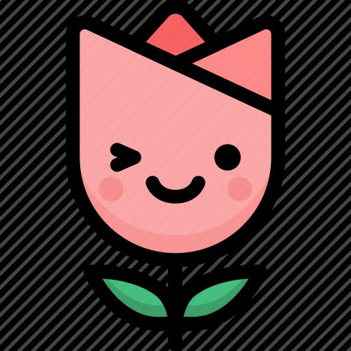emoji, emotion, expression, face, feeling, smile, tulip icon