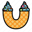 cone, cream, ice, topping, ucone icon