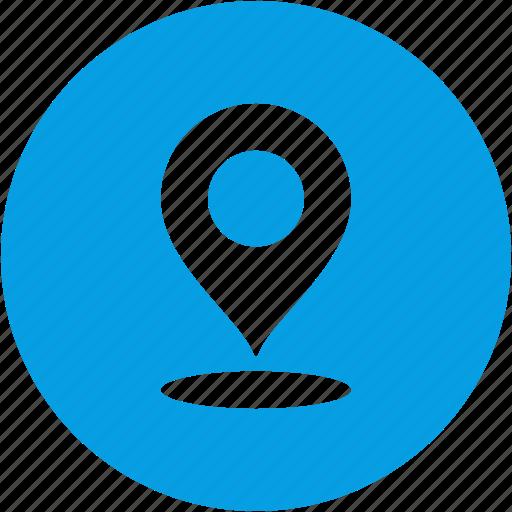 address, circle, gps, map, marker, pin, place icon