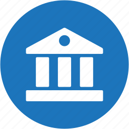 bank, building, business, cash, circle, finance, hall icon